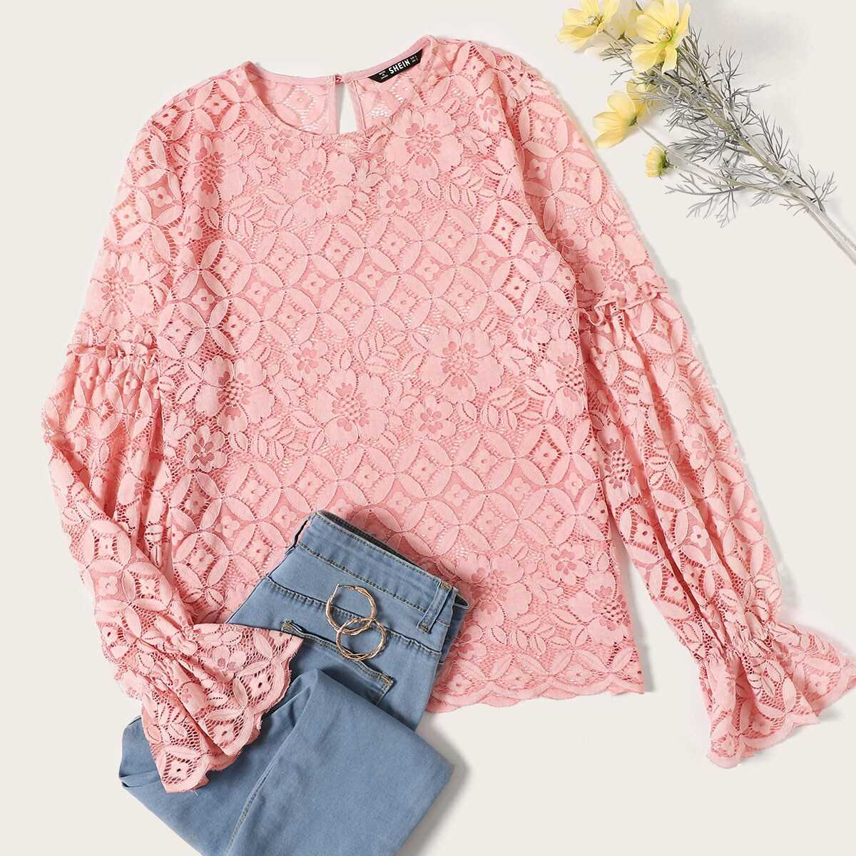 Flounce Sleeve Lace Top Without Bra - Shein - GOOFASH
