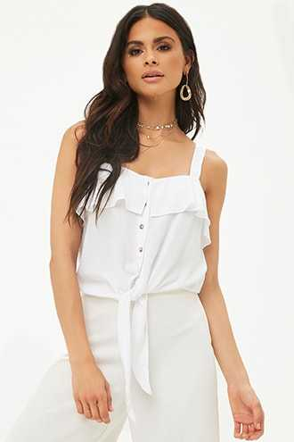 Flounce Tie-Front Top at Forever 21  White - GOOFASH