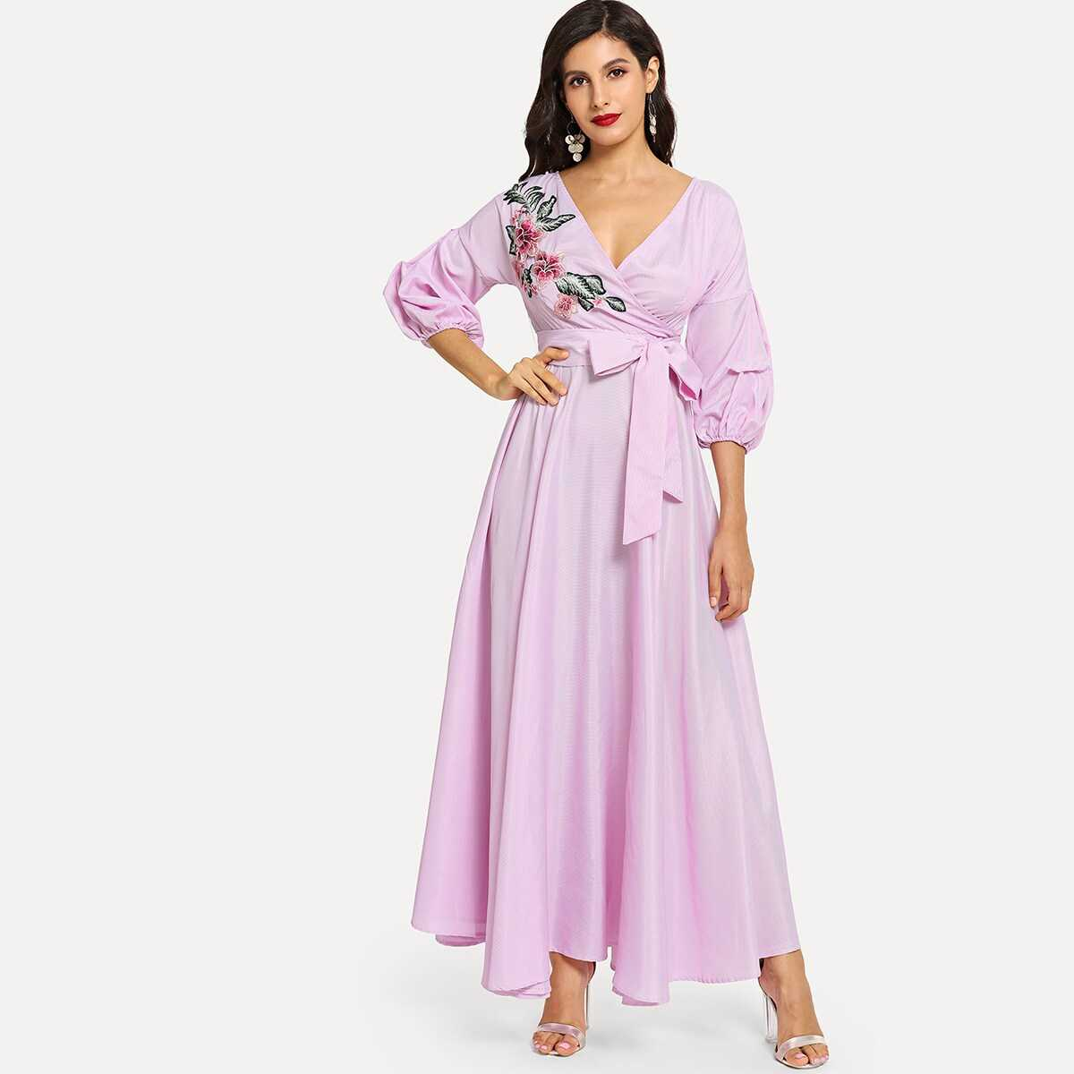 Flower Patch Puff Sleeve Surplice Wrap Dress - Shein - GOOFASH