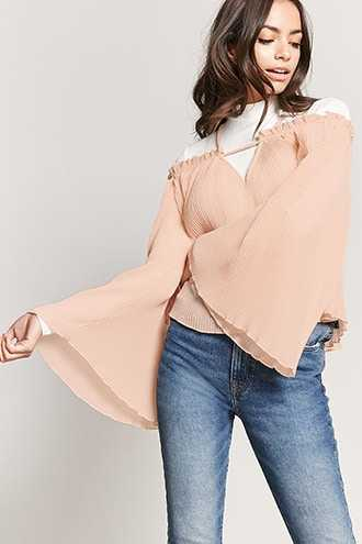 Forever 21 Accordion Pleat Off-the-Shoulder Top  Nude - GOOFASH