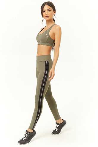 Forever 21 Active Contrast Piping & Trim Leggings  Olive/black - GOOFASH