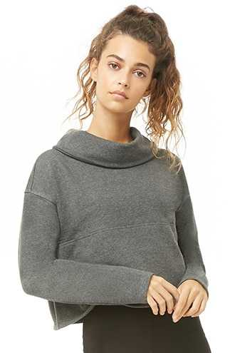 Forever 21 Active Cowl Neck Pullover Charcoal - GOOFASH