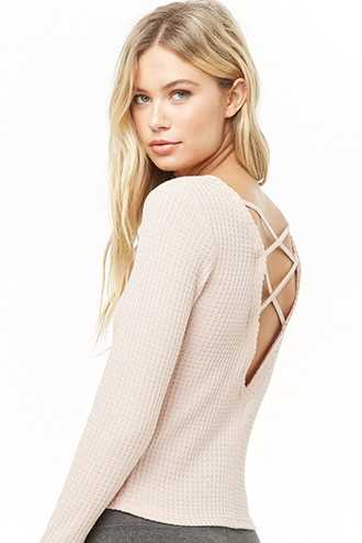 Forever 21 Active Crisscross Waffle-Knit Top  Sand - GOOFASH