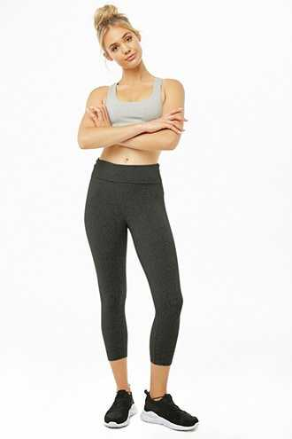 Forever 21 Active Cropped Foldover Leggings  Charcoal - GOOFASH