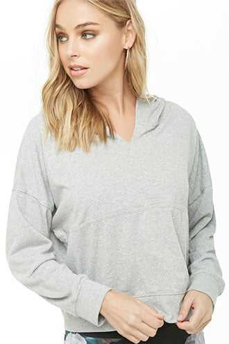 Forever 21 Active French Terry Hoodie  Heather Grey - GOOFASH
