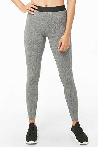 Forever 21 Active Heathered Leggings  Charcoal - GOOFASH