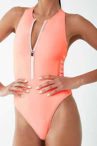 Forever 21 Active High-Leg One-Piece Swimsuit  Pink/white - GOOFASH