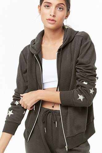 Forever 21 Active Hooded Star Graphic Jacket  Charcoal/silver - GOOFASH