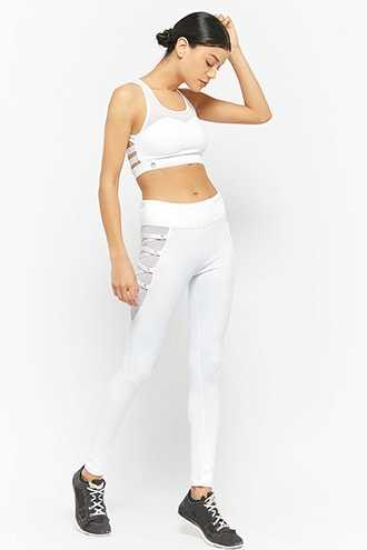 Forever 21 Active Mesh-Panel Lace-Up Leggings  White - GOOFASH