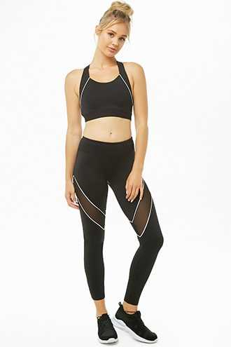 Forever 21 Active Mesh-Panel Leggings Black/white - GOOFASH