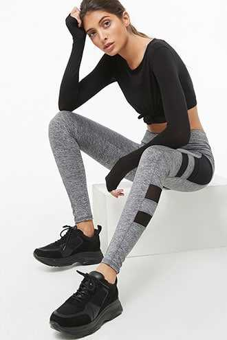 Forever 21 Active Mesh Stash Pocket Leggings  Charcoal - GOOFASH