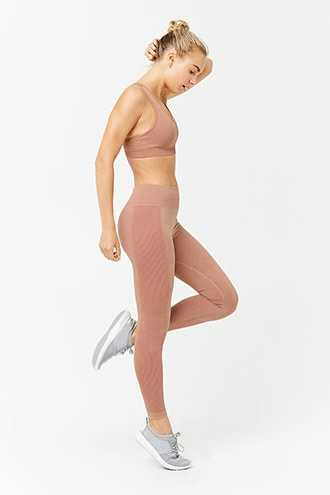 Forever 21 Active Ribbed 7/8 Leggings  Rust - GOOFASH