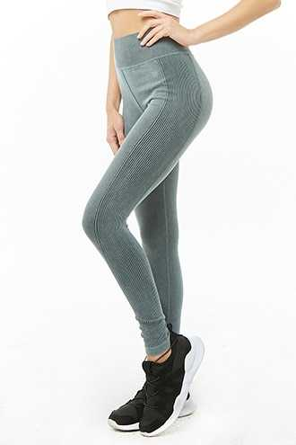 Forever 21 Active Ribbed 7/8 Leggings  Teal - GOOFASH