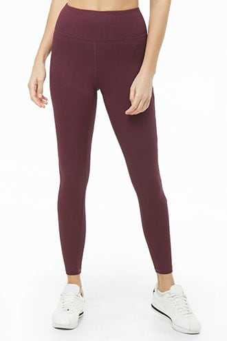 Forever 21 Active Ribbed Leggings Eggplant - GOOFASH