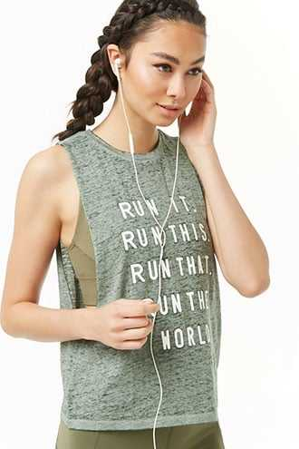 Forever 21 Active Run Graphic Muscle Tee  Heather Green - GOOFASH