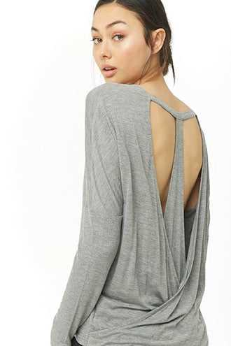 Forever 21 Active T-Back Top  Charcoal - GOOFASH