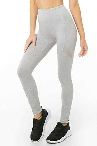 Forever 21 Active Total Coverage Mesh-Panel Leggings Heather Grey - GOOFASH