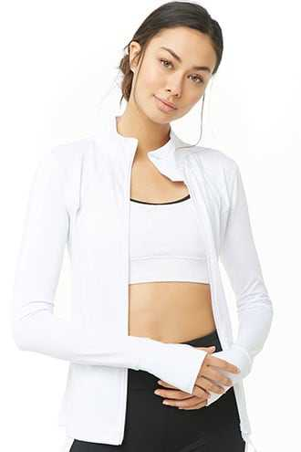 Forever 21 Active Zip-Front Jacket  White - GOOFASH