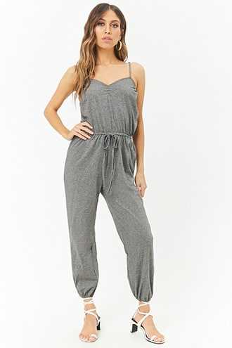 Forever 21 AnM Striped Ruched Cami Jumpsuit  White/black - GOOFASH
