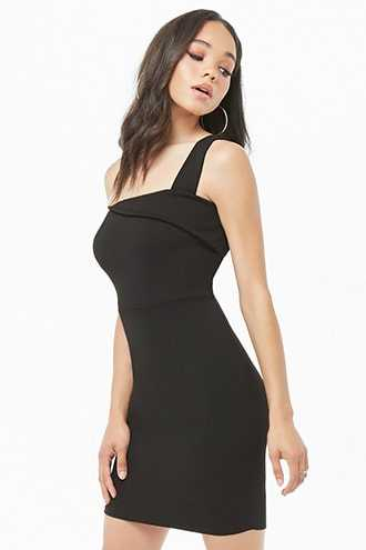 Forever 21 Asymmetrical Bodycon Mini Dress  Black - GOOFASH
