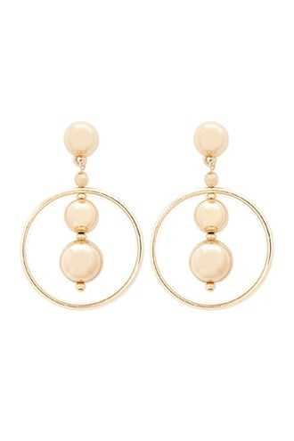 Forever 21 Ball & Hoop Drop Earrings  Gold - GOOFASH