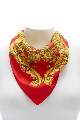 Forever 21 Baroque Print Scarf  Red/gold - GOOFASH