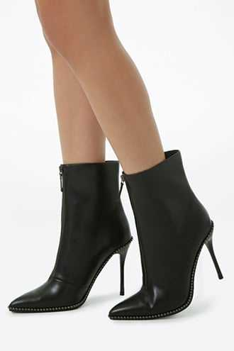 Forever 21 Beaded Faux Leather Booties  Black - GOOFASH