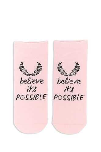 Forever 21 Believe Its Possible Graphic Ankle Socks  Pink/multi - GOOFASH