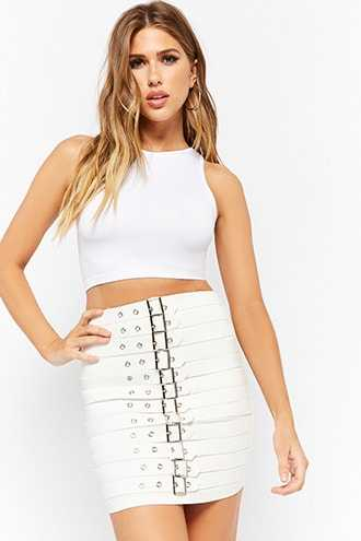 Forever 21 Belted Bodycon Mini Skirt White - GOOFASH