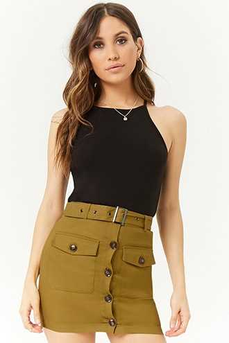 Forever 21 Belted Button-Front Mini Skirt  Olive - GOOFASH