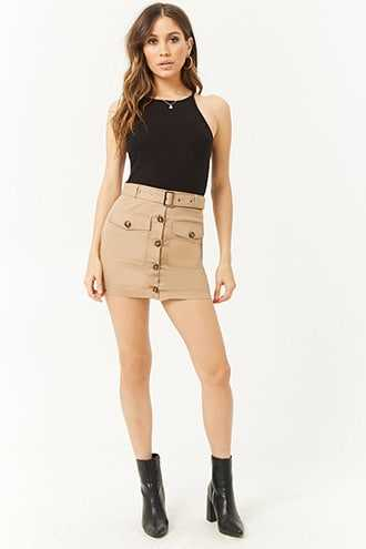 Forever 21 Belted Button-Front Mini Skirt  Taupe - GOOFASH