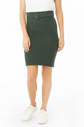 Forever 21 Belted Chevron Ribbed Skirt  Dark Green - GOOFASH