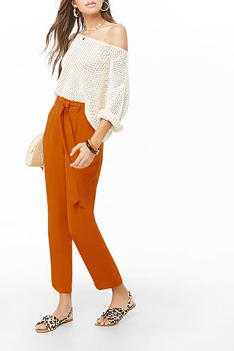 Forever 21 Belted Crepe High-Waist Trousers  Dark Orange - GOOFASH