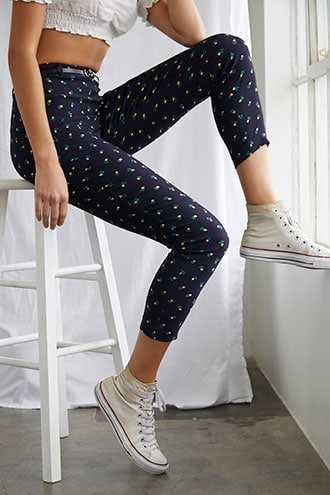 Forever 21 Belted Floral Ankle Pants  Navy/yellow - GOOFASH