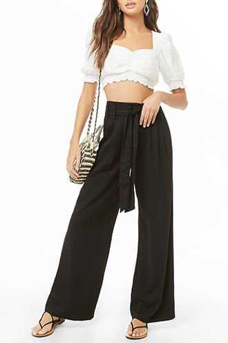 Forever 21 Belted Palazzo Pants  Black - GOOFASH