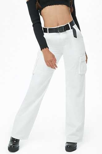 Forever 21 Belted Utility Pants  White - GOOFASH