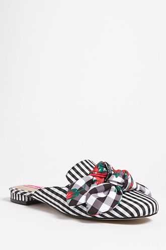 Forever 21 Betsey Johnson Gingham Loafer Mules  Black/multi - GOOFASH