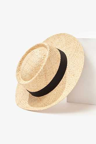 Forever 21 Boater Straw Hat Natural/black - GOOFASH