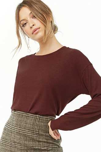 Forever 21 Boxy Brushed Knit Top  Brown - GOOFASH
