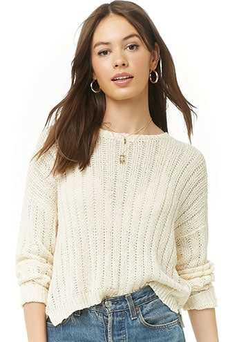 Forever 21 Boxy Open-Knit Sweater  Cream - GOOFASH