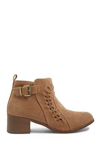 Forever 21 Braided Faux Suede Booties Taupe - GOOFASH