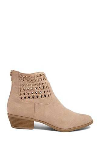 Forever 21 Braided Microfiber Booties  Taupe - GOOFASH