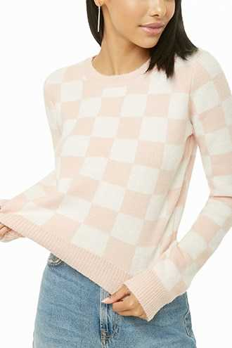 Forever 21 Brushed Knit Checkered Sweater  Pink/cream - GOOFASH
