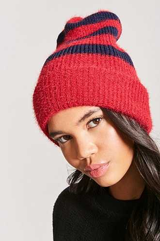 Forever 21 Brushed Knit Striped Beanie  Red/navy - GOOFASH