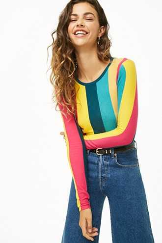 Forever 21 Brushed Striped Colorblock Sweater  Pink/multi - GOOFASH