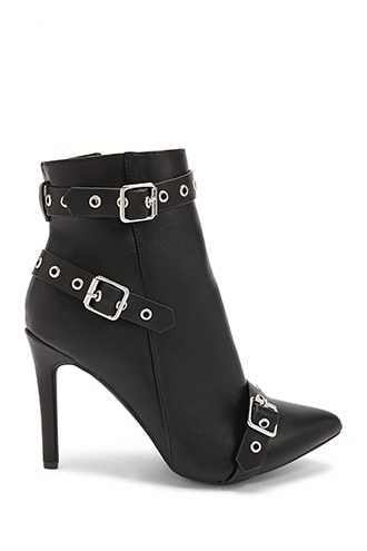 Forever 21 Buckle-Strap Faux Leather Booties  Black - GOOFASH