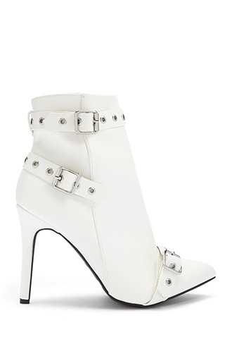 Forever 21 Buckle-Strap Faux Leather Booties  White - GOOFASH