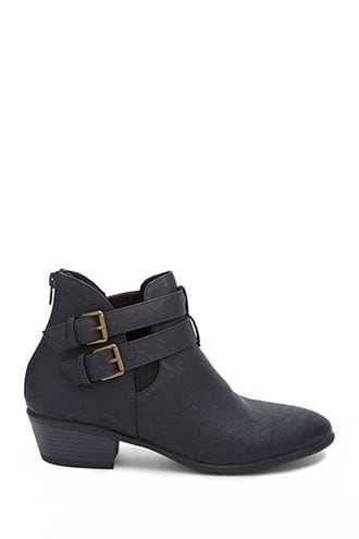 Forever 21 Buckled Ankle Booties  Black - GOOFASH