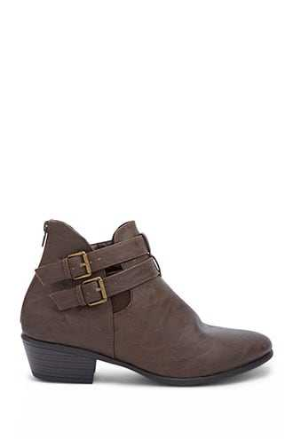 Forever 21 Buckled Ankle Booties  Brown - GOOFASH
