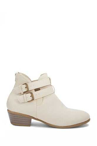 Forever 21 Buckled Ankle Booties  Taupe - GOOFASH